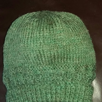Green Aran handknitted hat