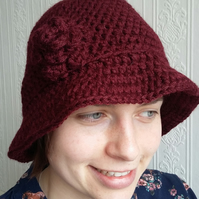 Wine crochet hat with flower trim