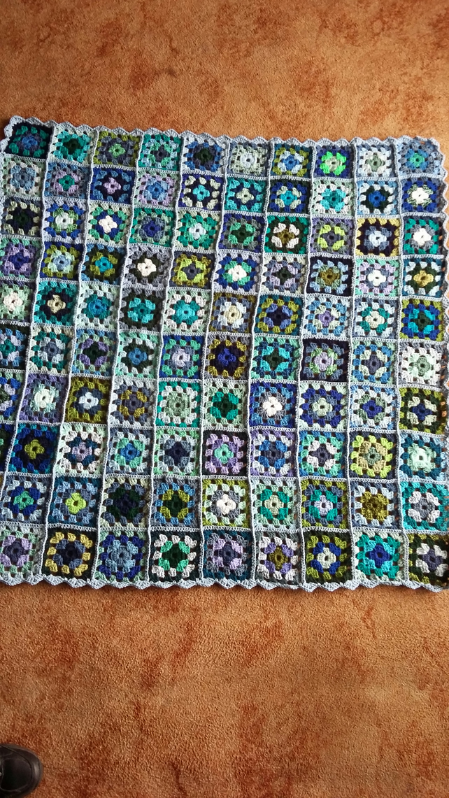 Crochet Granny Squares Blanket In Blues And Greens Folksy