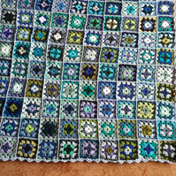 Crochet Granny Squares Blanket in blues and greens