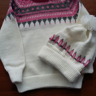 White and pink fairisle jumper and matching hat