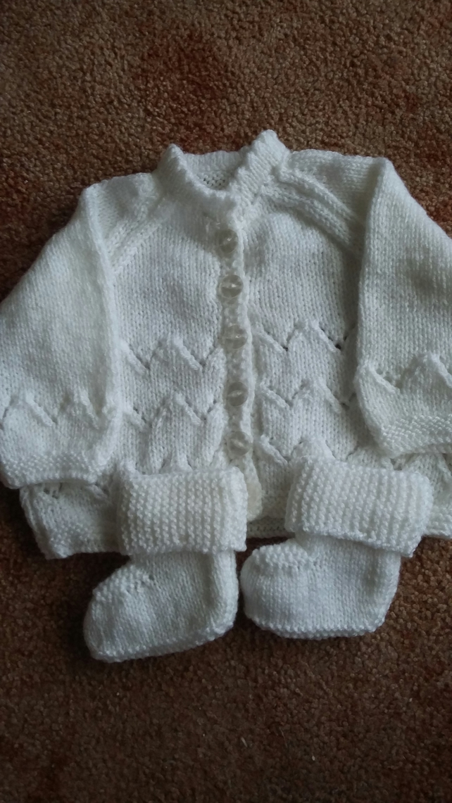White Hand Knitted Matinee Jacket and Bootees