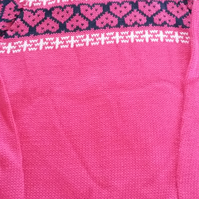 Fuchsia pink cotton jumper with fairisle yoke Size 2-3 yrs