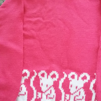 Fuchsia pink jumper with mice round the bottom. Size 2-3 yrs