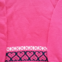Fuchsia pink cotton jumper with fairisle round the bottom. Size 3-4 yrs