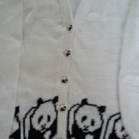 White cotton panda cardigan with panda buttons