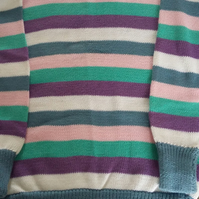 Striped cotton jumper in blues, lilac and pink 7-8 yrs