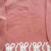 Pink cotton jumper with mice round the bottom