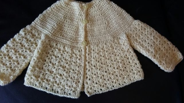 Crochet Matinee Jacket in primrose yellow wool. 3 months