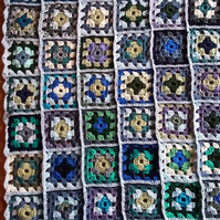 Blue and green Crochet Granny Squares Blanket
