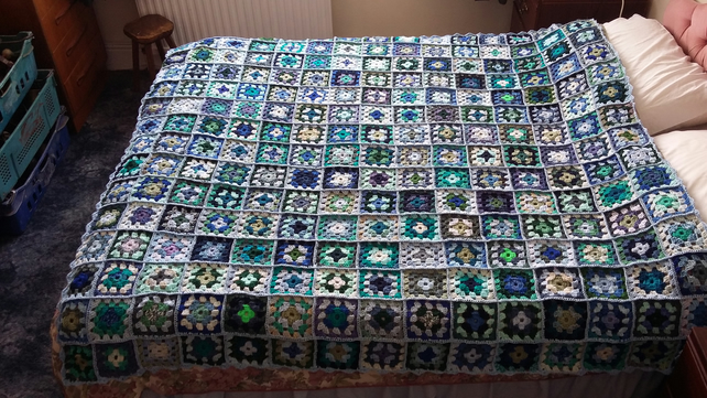 Granny squares blanket in blues and greens
