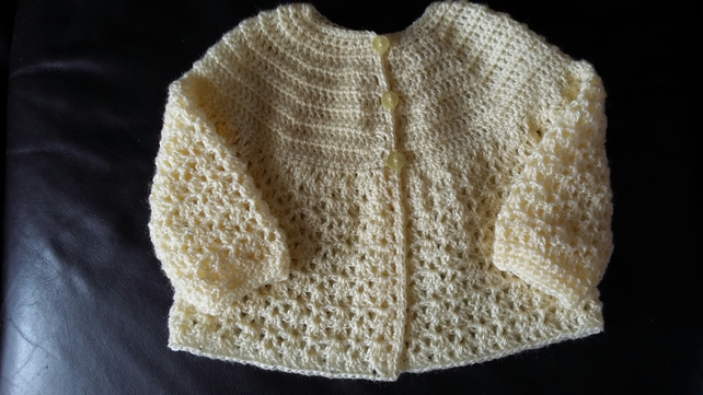 Crochet Pale Yellow Matinee Jacket
