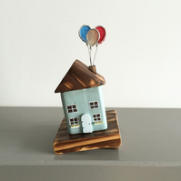 Handmade Wooden Cottage with Balloons Teal