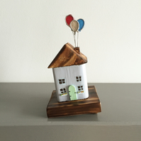 Handmade Wooden Cottage with Balloons