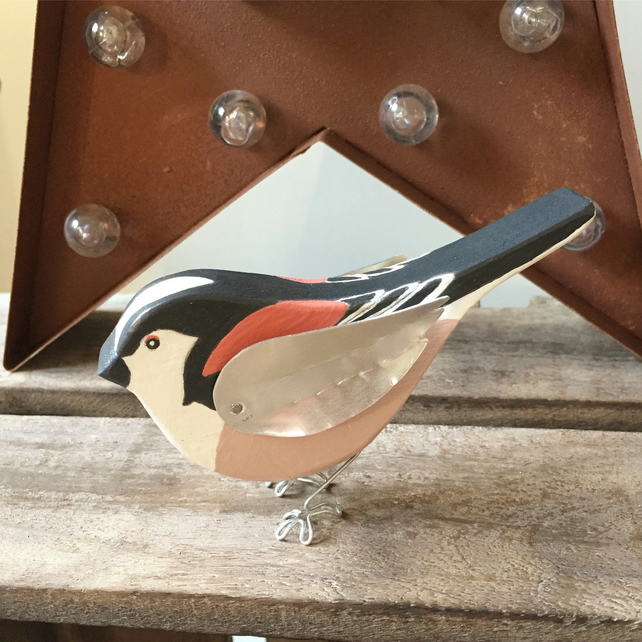 Hand crafted Wooden Long Tailed Tit Gift