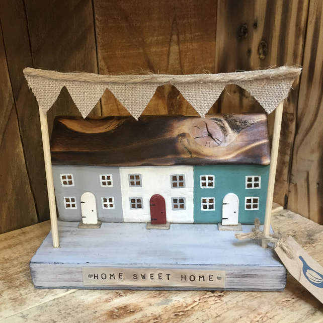 Row of cottages with bunting Home Sweet Home gift