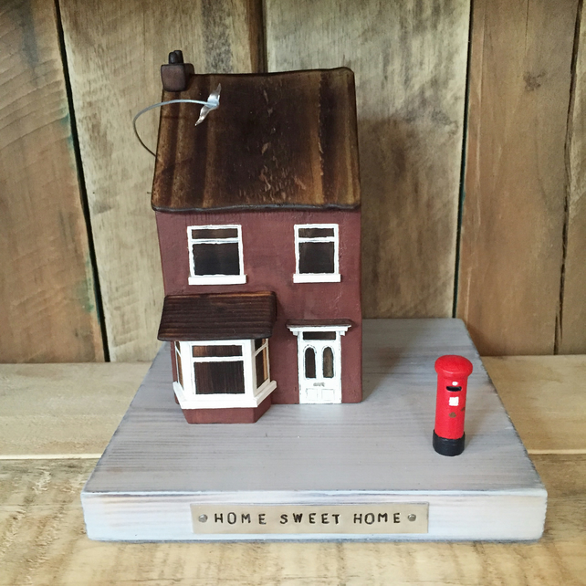 New Home Gift Handmade House with Bird & Postbox