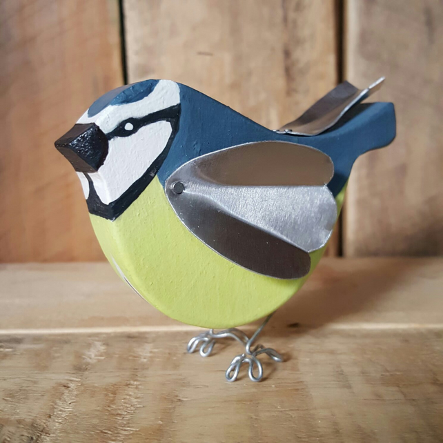 Hand crafted Wooden Blue Tit Gift