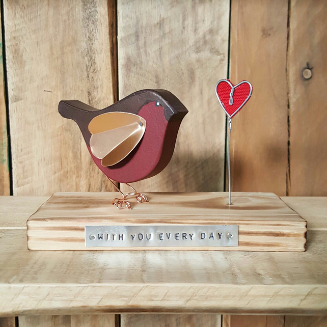 Handmade Wooden Robin Redbreast Personalised Gift Friendship Bereavement