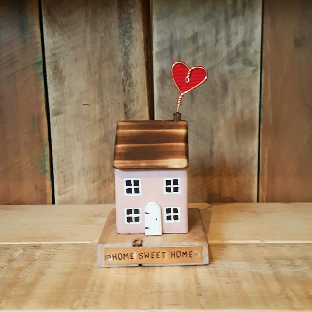 Handmade Wooden Cottage Home Sweet Home with Heart Housewarming Gift