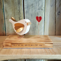 Personalised Handmade Wooden Dove with Heart Gift Wedding Anniversary Friend