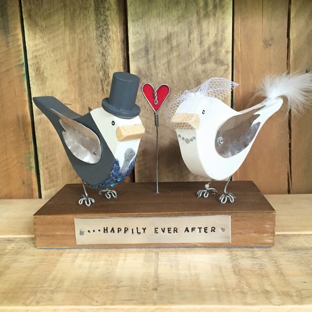 Pair of Wedding Birds Personalised Handmade Wedding Gift