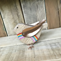 Handmade Oak Rainbow Bird Gift