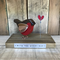 Wooden Robin Redbreast Gift With you Every Day Ornament