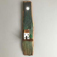 Handmade Wooden House Wall Hanging 'Night Sky'