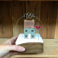 Handmade Winter Cottage Home Gift with Joy and bell