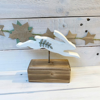Handmade Wooden a Leaping Hare Inspired by Nature Gift