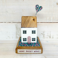 Wooden House with Heart and Home Sweet Home tag