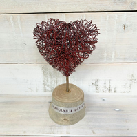 Handmade  Red Wire Heart on Wood Slice Personalised