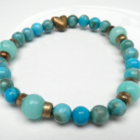 Amazonite and chrysocolla Stretch bracelet