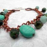 Antique Copper Charm Bracelet with Adventurine , Chrysocolla and Howlite