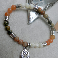 Stretch Gemstone bracelet with Tibetan silver bead