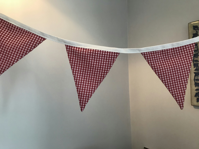 Hand made red and white cotton bunting