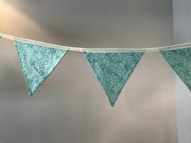 Hand made green and cream cotton bunting