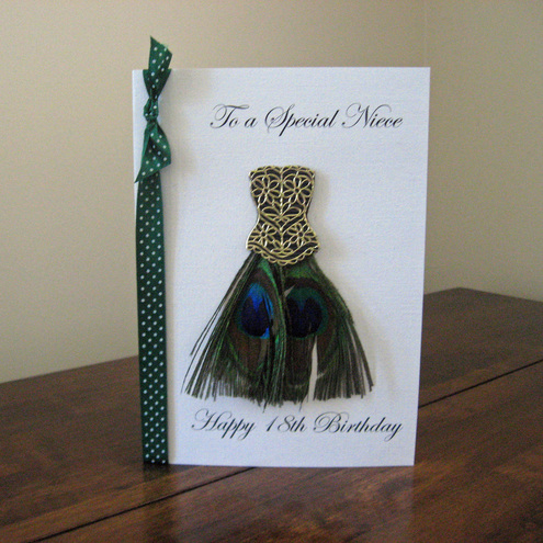 Personalised Peacock Dress Birthday Card