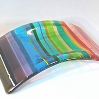 Fused Glass Candle Arc - Chromatic Rainbow