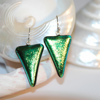 Chromatic Triangle Earrings (Lime Green)