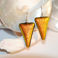 Fused Glass - Chromatic Triangle Earrings (Copper)