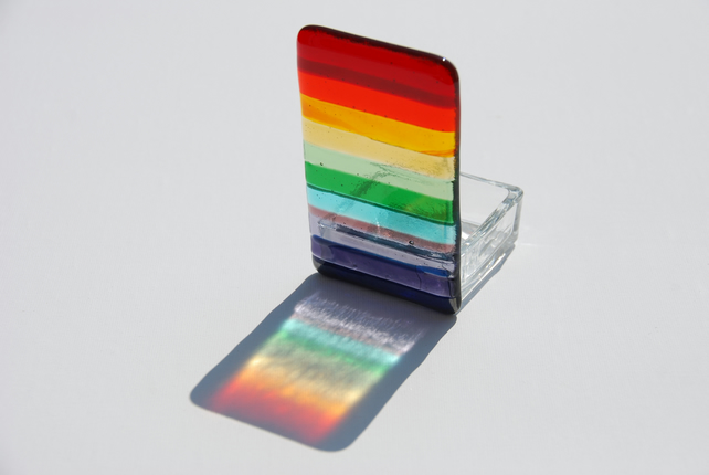 Fused Glass Tealight Holder - Chromatic Rainbow
