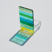 Fused Glass Tealight Holder - Chromatic Rainbow (Green)