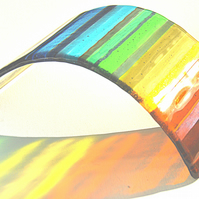 Rainbow Glass Sculpture Panel - Chromatic Rainbow Arc (CRA-002)