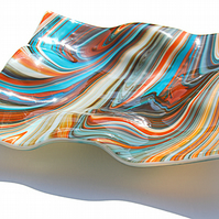 Zephyr Fused Glass Wavy Square Platter Decorative Dish, 30cmx30cm