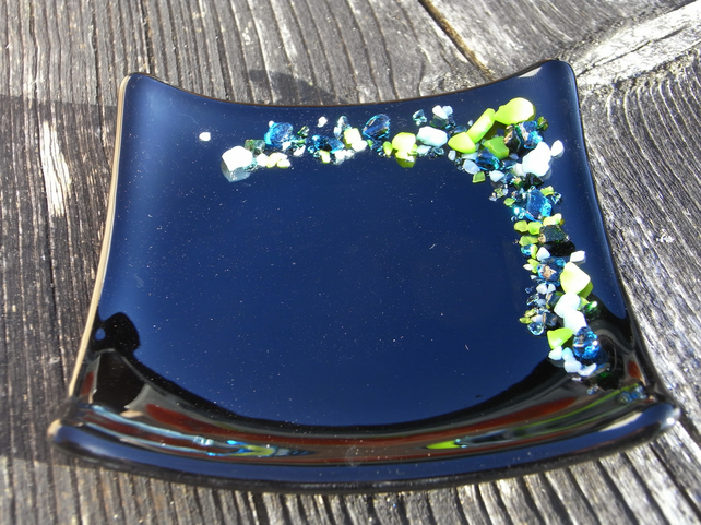 Fused glass Trinket Dish, black, 'Beach'