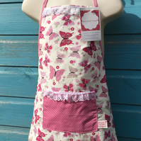 Children's Apron - Pink Butterfly Fabric