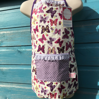 Children's Apron - Purple Butterfly Fabric