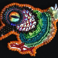 Hand beaded bird brooch